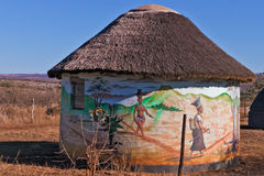 居住的传统祖鲁族人 免版税库存照片