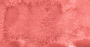 居住的珊瑚的时髦颜色水彩背景与与异常的自然离婚和条纹的 抽象框架 向量例证