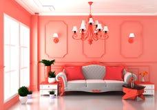 居住的珊瑚豪华室内部和装饰豪华样式的嘲笑 3d?? 库存例证