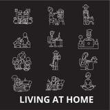 居住编辑可能的线象在家导航在黑背景的集合 在家居住白色概述例证,标志 向量例证