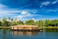 死水居住船印度喀拉拉 库存图片