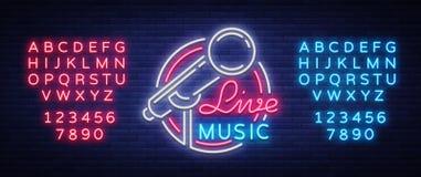 居住音乐传染媒介霓虹商标,标志,象征,与话筒的标志海报 明亮的横幅海报,霓虹明亮的标志 库存图片