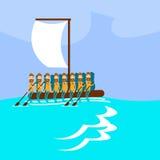 移居在海移出概念的危机人小组移居手工制造小船风帆 库存图片