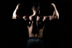 屈曲在健身房的肌肉人肌肉 库存照片