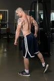 屈曲肌肉三头肌的年轻爱好健美者 免版税库存图片