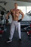 屈曲肌肉的英俊的人 免版税图库摄影