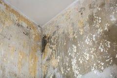 屋子的角落在整修前的 库存照片