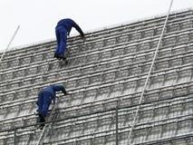 屋面防水工工作 库存图片