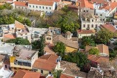 屋顶上面从上面在Plaka雅典希腊 免版税库存照片