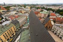 屋顶克拉科夫老镇的顶视图, 免版税库存图片