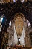 屋顶和被雕刻的屏幕在伊利大教堂 库存图片