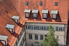 屋顶在老镇Tuebingen,德国 免版税库存照片