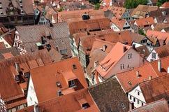 屋顶在老镇Tuebingen,德国 库存图片