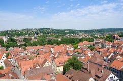 屋顶在老镇Tuebingen,德国 库存照片