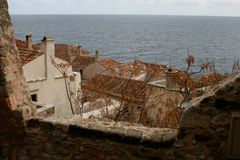 屋顶在Monemvasia 库存图片
