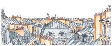 巴黎屋顶地平线 免版税库存照片