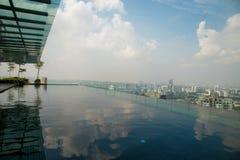 屋顶无限边缘昂贵的豪华旅馆公寓的水池甲板在黎明有地平线在都市风景天际的城市视图 免版税图库摄影