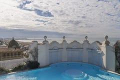 屋顶水池在维亚雷焦,卢卡,托斯卡纳,意大利 免版税库存照片