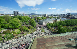 从屋顶的挪威宪法天 免版税库存图片