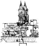 从屋顶的教会 库存图片