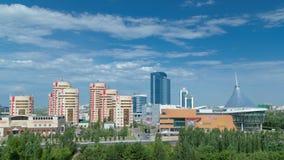 从屋顶的新的商业区timelapse在哈萨克斯坦的首都在阿斯塔纳 股票视频