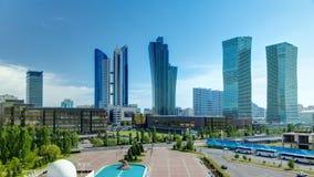 从屋顶的新的商业区timelapse在哈萨克斯坦的首都在阿斯塔纳 影视素材