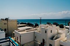 从屋顶的看法在纳克索斯岛,希腊上的贴水Prokopios 免版税库存照片