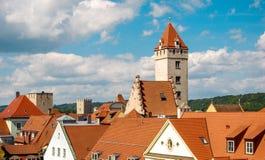 屋顶的看法在街市雷根斯堡 免版税库存照片
