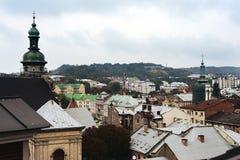 从屋顶的秋天利沃夫州,乌克兰 库存图片