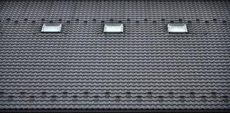 屋顶的纹理有屋顶的由金属制成,用下落盖由雨 几个单块玻璃窗口被修造入roo 库存图片