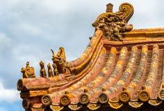 屋顶装饰在故宫,北京 库存图片