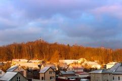 屋顶,看法,房子 免版税库存图片