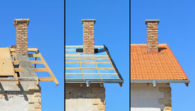 屋顶建筑的三个阶段。 库存图片