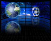 屏幕和二进制地球 免版税库存照片