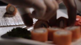展开费城在一块板材的寿司卷与 影视素材