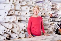 展示分类的女性售货员在纺织品商店 库存照片