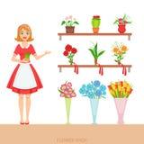 展示分类的花店的女性卖花人 库存例证