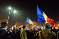 展示反对政治腐败的罗马尼亚人 免版税库存照片