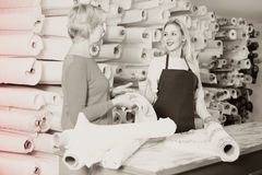展示织品的女性卖主给纺织品的s资深买家 库存图片