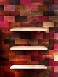 展览的空的架子在颜色木头。EPS 10 免版税库存图片