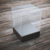 展览的空的玻璃陈列室 库存图片