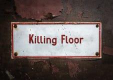 屠场杀害地板标志 库存照片