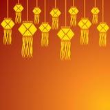 屠妖节与垂悬的灯的问候背景 免版税库存照片