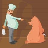 屠户和猪 免版税库存照片