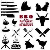 屠户和bbq工具 免版税库存图片