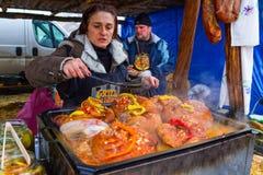 屠户国际性组织露天烹饪节日Trans的 库存照片