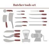 屠杀设备大集合 平的肉店设计元素和工具象 肉切口项目 图库摄影