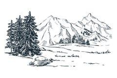 山、云杉和松树使,导航剪影例证环境美化 手拉的冬天小山和森林 皇族释放例证