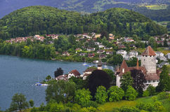 山、城堡和湖在图恩市 瑞士 免版税库存照片