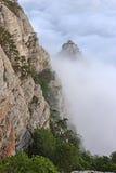 山、森林和云彩 库存照片